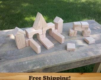 21 Piece Fir Wood Blocks, All Natural Building blocks, Sanded Edges, 2 Inch Size Wooden Baby Block Set