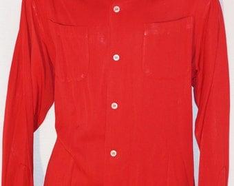 1950s Mens Red Rayon Long Sleeve Shirt Sz L Vintage Retro Golden Gate