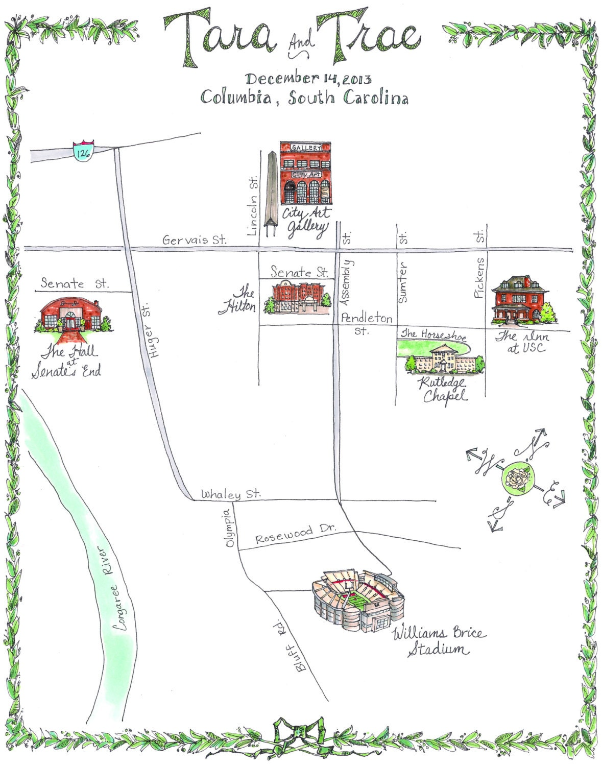 Made To Order Custom Wedding Map Columbia South Carolina - Map of usc columbia