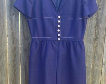 1960s Royal Blue Nautical Dress M
