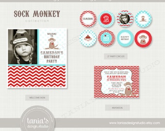 Sock Monkey Printable Birthday Party Package by tania's design studio