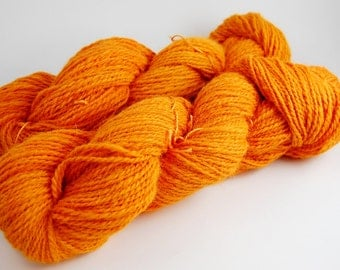 Alpaca handspun handdyed yarn 410 yards sport weight 2 ply orange