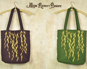 Silkscreen Tote Bag - Golden Willow on Chocolate / Moss Green Bio & Fairtrade Cotton Bag