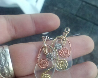 Tricolor wire-wrapped twisted spiral upcyled glass earrings