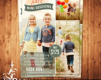 Fall Mini Session Photography Marketing board - Newsletter template - Photoshop template Instant Download BUY 1 GET 1 FREE: ms-418