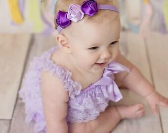 Lavender & Purple Headband, Headband ,Baby girl Headband,Newborn Headband,Christening,Preemie, Newborn, Baptism Headband, Baby Headbands