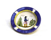 Vintage Quimper  Ashtray. Hand Painted French Quimper Ceramic Ashtray.