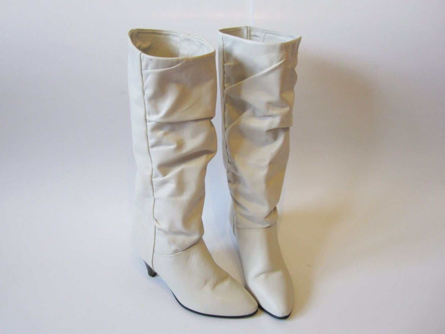 Off White Boots Pale Gray Vintage 80 S Leather Wedding