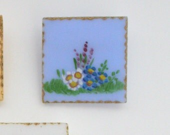 1950s Square Blue Hand-Painted Floral Lucite Brooch