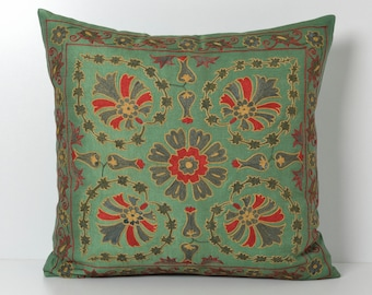 green floral pillow suzani pillow emboidered pillow floral pillow throw pillow green pillow floral pillow cover green throw pillow ethnic