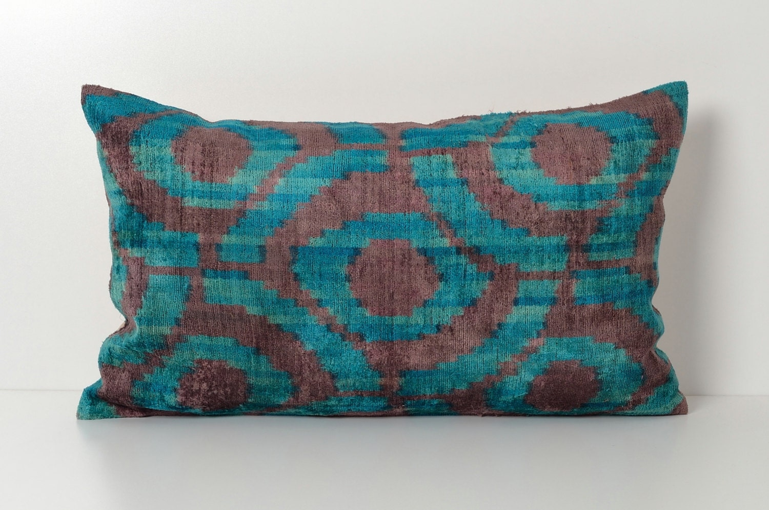 Turquoise Ikat Pillow Throw Pillow Decorative Sofa By Pillowme