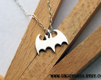Sterling Silver Bat Necklace - Handcrafted Silver Jewelry - Silver Necklace
