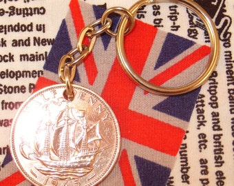 1965 Half Penny Old Half Penny English Coin Keyring Key Chain Fob Queen Elizabeth II