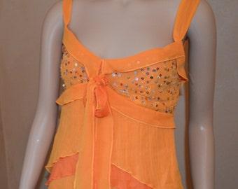 Orange Sparkly Summer Chiffon Tank