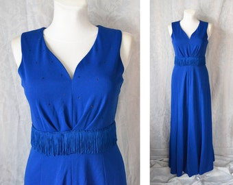 70s blue Long formal evening gown, Sweetheart prom dress, A line dress with fringe
