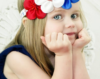 Patriotic Red White Blue 4th of July Headband Preemie to Adult