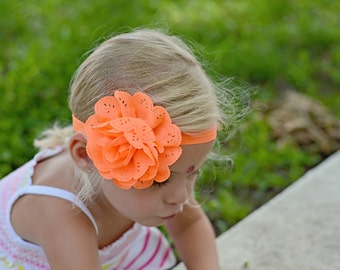 Neon Orange Large Flower Shabby Chic Chiffon Headband Preemie to Adult