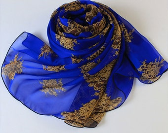 Blue Silk Scarf with Ancient Floral and Eyelash Print - Blue Chiffon Scarf - Royal Blue Silk Scarf - Medium Blue Floral Scarf - 279
