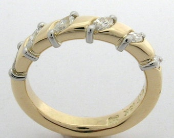 Hand Made and Hammer Forged 18k yellow gold and Platinum Marquise Diamond Wedding Ring