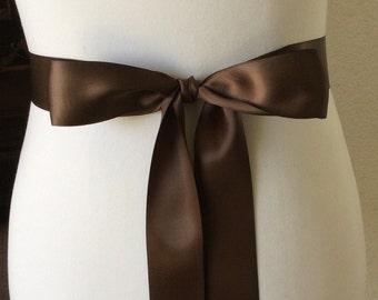 Chocolate Brown Sash- 1.5 Simple Satin Sash- Wedding Belt- Bridal Sash- Flower Girl Sash- Bridesmaid Sash- Simple Belt- Plain Sash