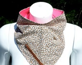 The Madeleine: Classic Leopard Print in Beige, Brown, Black & Hot Pink Jersey Reversible Bandana with Stash Pocket by BandHäna