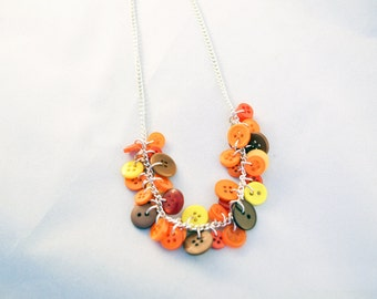 Button Necklace - Button Jewellery - Womens Necklace - Button Art - Fall Jewelry - Fall Colors - Autumnal Gifts - Charm Necklace - Mom Gift