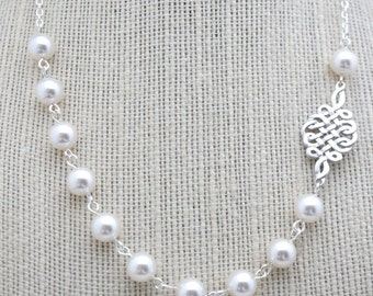 50% OFF Necklace, Vintage Style White Pearl and Silver Filigree necklace: No. N126 1