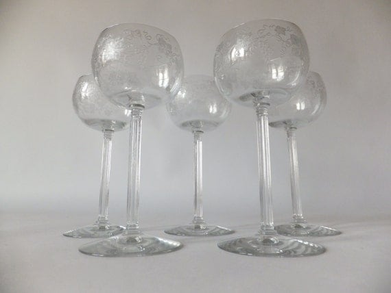 Set 5 Xt Crystal Column Stem Etched Wine Glasseswater