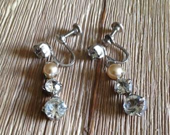 Vintage Screw On Pearl and Rhinestone Earrings
