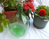Small Green Glass Italian Demijohn/ Damigiana