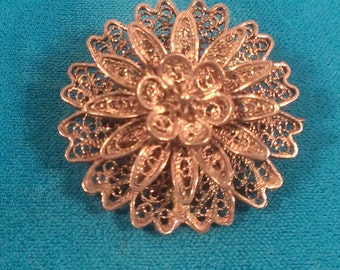 Sterling Silver floral broach Vitcorian vintage
