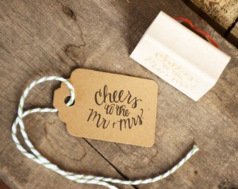 Cheers to the Mr. and Mrs. Rubber Stamp, Wedding Favor Stamp, With or Without Personalized Name. Wedding Name and Date Stamp.