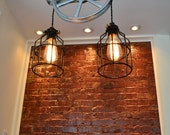 Re-purposed Silver Barn Pulley Industrial Light  [Swag Version/Plugs Into Outlet] [Edison Bulbs Sold Separately]