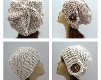 PDF 156 TWO  Knitting Hat Patterns, Grab 'N Go Perfect Winter Hat in Five Sizes, Tam, Beret, Slouch Hat,  Bucket Hat, Cloche