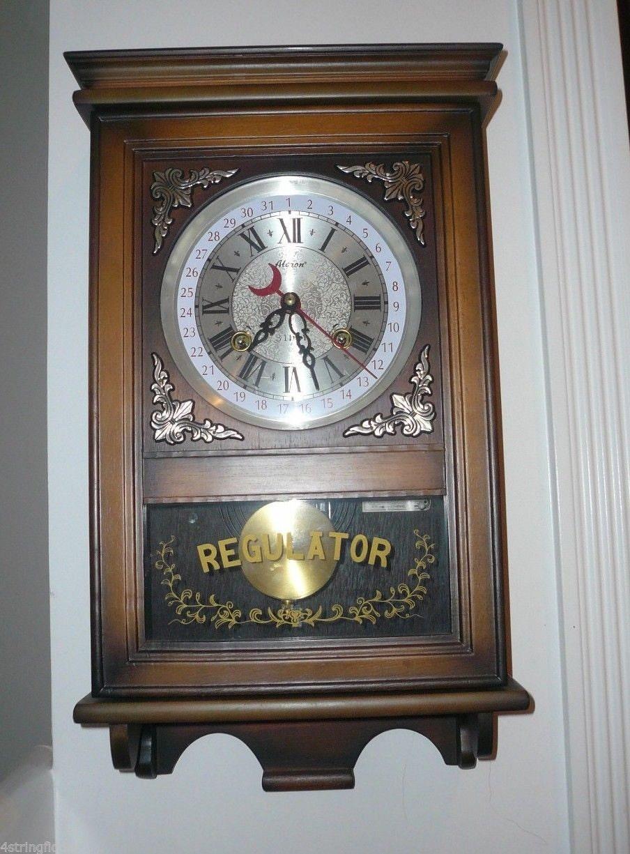 Vintage Alaron Regulator Pendulum Wall Clock 31 Day Chimes