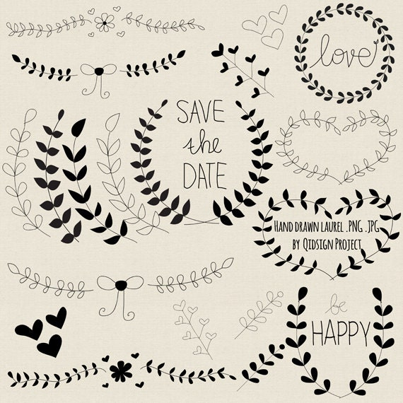 Hand Drawn Laurel Clipart Black For Scrapbooking Wedding