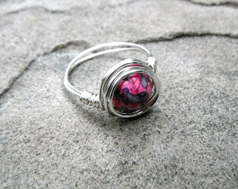 Rainbow Jasper Ring, Wire Wrapped Ring, Pink Stone Ring, Pink Ring, Wire Wrapped Jewelry Handmade, Gemstone Ring, Chunky Ring