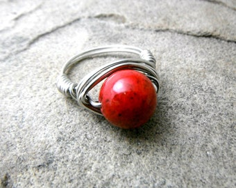 Chunky Red Ring, Red Stone Ring, Wire Wrapped Ring, Red Ring, Wire Wrapped Jewelry Handmade, Gemstone Ring, Chunky Ring, Statement Ring