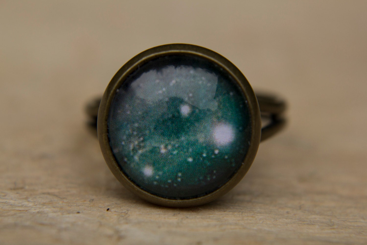 green galaxy ring green ring space ring universe jewelry