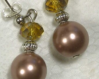 "Cynthia Lynn ""DRESSED UP"" Mocha Brown Glass Pearl Crystal Silver Plated Post Earrings 1 inch"