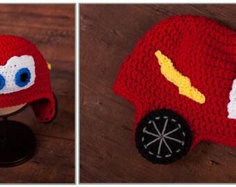 Lightening McQueen!  Cute little hat for your racer!