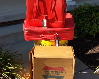 American Toutister vintage red suitcase luggage set with original box
