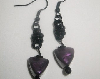 Black Coil Drop Earrings with Purple Pyramids