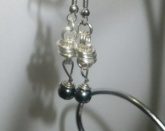 Silver Coil Drop Earrings with Black Pearls