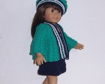 American  Girl, 18 inch PDF dolls clothes knitting pattern, also fits Gotz and similar size dolls.