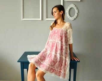 Boho Chic Dress, Lace Dress