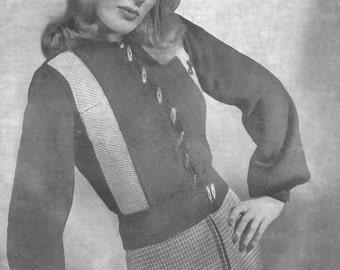 1940s Knitting Pattern for Womens Jeep Jacket / Cardigan / Ski Jacket - Manon - Digital PDF