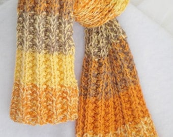 """Handknit scarf, stripes, yellows and browns 42"""" X 6 1/2"""""""