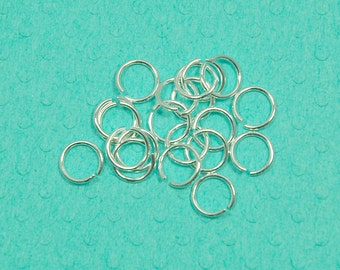 6mm sterling silver jump ring - 50pcs or more - 21 gauge (0.7mm) - 925 smooth unsoldered open jumpring - split ring - connector loop