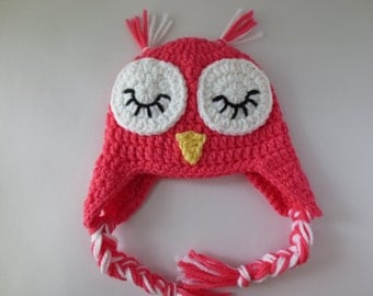 Crochet Owl Hat, Sleepy Owl Hat, Crochet Baby Hat, Baby Owl Hat, Toddler Owl Hat, Adult Owl Hat, Child Owl Hat, Crochet Baby Hat, Pink Owl